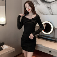 Dress Spring 2021 Apricot, black, coffee S,M,L Short skirt singleton  Long sleeves commute square neck High waist Solid color Socket routine 25-29 years old Hollowed out, open back, pleated, stitched 1122# More than 95% other other