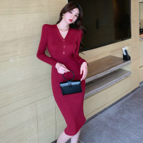 Dress Spring 2021 Apricot, Burgundy, black S,M,L Mid length dress singleton  Long sleeves commute V-neck middle-waisted Solid color Socket One pace skirt routine Others Type H Korean version Button 31% (inclusive) - 50% (inclusive) other cotton