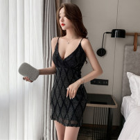 Dress Spring 2021 black S,M,L Short skirt singleton  Sleeveless commute V-neck High waist Solid color Socket One pace skirt other camisole Type A backless 31% (inclusive) - 50% (inclusive) other other