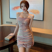 Dress Spring 2021 Apricot S,M,L Short skirt singleton  Sleeveless commute One word collar High waist Solid color Socket other 25-29 years old Open back, fold More than 95% other other
