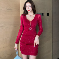 Dress Autumn 2020 Red, black S,M,L Short skirt singleton  Long sleeves commute V-neck High waist Solid color zipper One pace skirt routine Others 25-29 years old Type A Diamond, fold, Sequin 1259# More than 95% other other