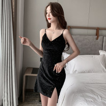 Dress Summer 2021 black S,M,L Short skirt other Sleeveless commute V-neck High waist Solid color zipper One pace skirt routine camisole Type H Retro backless 71% (inclusive) - 80% (inclusive) other other