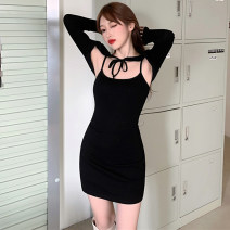 Dress Autumn 2020 black S,M,L Short skirt Two piece set Sleeveless commute One word collar High waist Solid color Socket routine 18-24 years old Open back, lace up More than 95% other other