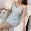 Dress Summer 2021 Apricot, light blue, white, pink, black S,M,L Short skirt singleton  Sleeveless commute V-neck High waist Solid color zipper One pace skirt other camisole Type A Korean version Open back, sequins 51% (inclusive) - 70% (inclusive) other polyester fiber