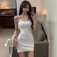 Dress Summer 2021 White, black S,M,L Short skirt singleton  Sleeveless commute V-neck High waist Solid color Socket One pace skirt other camisole Type A Open back, nail bead, zipper 6086# 31% (inclusive) - 50% (inclusive) other other