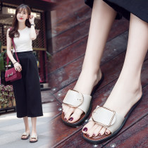 slipper Note - one size smaller Other / other Square buckle - black square buckle - Apricot Flat bottom Low heel (1-3cm) plastic cement Spring 2016 One line PVC daily college Injection pressure shoes Youth (18-40 years old) Color matching Square buckle PU PU Rubbing skin