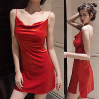 Dress Spring 2020 Red, green, black Average size Short skirt singleton  Long sleeves commute One word collar High waist Solid color Socket A-line skirt other camisole 18-24 years old Type A Korean version 31% (inclusive) - 50% (inclusive) other other
