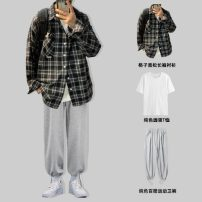 Leisure sports suit Four seasons S,M,L,XL,2XL,3XL Shirt black + short T + casual pants grey, shirt Navy + short T + casual pants grey, shirt black + casual pants grey, shirt Navy + casual pants grey, single shirt black, single shirt Navy, single tether Pants Grey Long sleeves Other / other teenagers