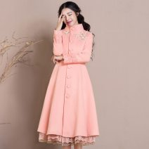 woolen coat Spring 2017 S,M,L,XL,XXL,XXXL Orange pink polyester 30% and below Medium length Long sleeves commute Single breasted stand collar Solid color Self cultivation Embroidery Solid color