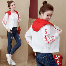 short coat Autumn of 2019 S. M, l, XL, 2XL, the quantity is limited, the original price will be restored soon Red, blue, black Long sleeves routine routine singleton  easy Versatile routine Hood zipper letter 96% and above Thread, zipper, print polyester fiber polyester fiber