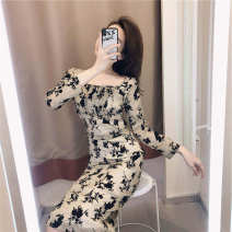 Dress Summer 2021 Picture color M. L, XL, XXL, XXXs pre-sale Middle-skirt singleton  Long sleeves commute Crew neck middle-waisted Socket One pace skirt Korean version 81% (inclusive) - 90% (inclusive) other