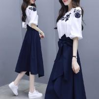 Dress Summer 2020 White blue white suit M. L, XL, XXL, XXXL, XXXs pre-sale Mid length dress Two piece set Short sleeve commute Socket routine 18-24 years old Other / other Korean version 91% (inclusive) - 95% (inclusive) polyester fiber