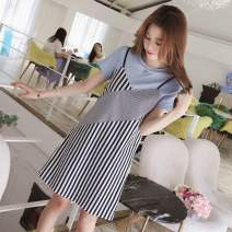 Dress Summer 2020 Light blue, green, yellow, black, white leggings S,M,L,XL,2XL,3XL Mid length dress Fake two pieces Short sleeve commute Crew neck Socket routine 18-24 years old Korean version 81% (inclusive) - 90% (inclusive)