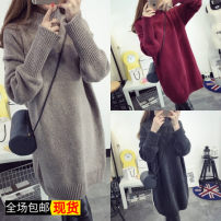 Wool knitwear Autumn of 2019 Average size Long sleeves singleton  Socket wool 71% (inclusive) - 80% (inclusive) Medium length thick commute easy High collar routine Solid color Socket Korean version Other / other