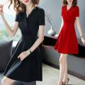 Dress Summer 2020 Red, black, brown pre-sale S,M,L,XL,2XL,3XL Mid length dress singleton  Short sleeve commute V-neck Solid color Socket routine Korean version 81% (inclusive) - 90% (inclusive)