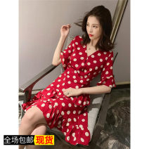 Dress Summer of 2019 Red, black, dog head T-shirt S,M,L Mid length dress singleton  commute Dot Socket 18-24 years old Other / other Korean version printing 51% (inclusive) - 70% (inclusive)