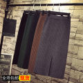 skirt Autumn of 2019 S,M,L,XL,2XL,3XL Dark green, grey, black, brown pre-sale Mid length dress Versatile High waist Solid color Type H 18-24 years old 71% (inclusive) - 80% (inclusive) knitting Other / other cotton