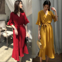 Dress Summer 2021 M,L,XL,XXL Mid length dress singleton  Short sleeve commute V-neck middle-waisted Solid color Socket Ruffle Skirt routine 18-24 years old Korean version 81% (inclusive) - 90% (inclusive)