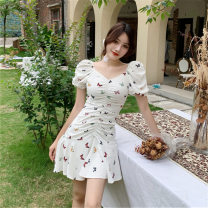 Dress Summer 2021 White, purple, leggings white M,L,XL,2XL Mid length dress singleton  Short sleeve commute High waist Broken flowers Socket Irregular skirt puff sleeve Others 18-24 years old Korean version Splicing 81% (inclusive) - 90% (inclusive) Chiffon other