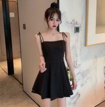 Dress Summer 2021 Gold, black, leggings, white M,L,XL,XXL Miniskirt singleton  Sleeveless commute middle-waisted Solid color Socket Ruffle Skirt routine Korean version 81% (inclusive) - 90% (inclusive)