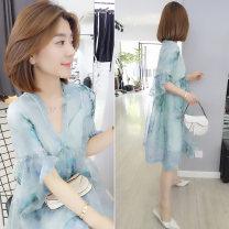 Dress Summer 2020 S,M,L,XL,2XL,3XL singleton  commute V-neck Decor Socket other Korean version