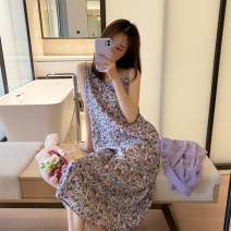 Dress Summer 2020 Picture color S. M, l, XL, 2XL, XXXs pre-sale longuette singleton  Sleeveless commute V-neck High waist Decor Socket A-line skirt other camisole 18-24 years old Type A Korean version 31% (inclusive) - 50% (inclusive) other