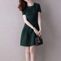 Dress Summer 2020 Green, blue, black S,M,L,XL,2XL,3XL Mid length dress singleton  Short sleeve commute Crew neck Solid color A-line skirt other Others Type A Korean version