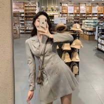 Dress Autumn 2020 Li camel color, elegant gray (pre-sale, delivery next year), original authentic collection first S,M,L,XL Short skirt singleton  Long sleeves commute V-neck High waist Solid color double-breasted Pleated skirt routine Type X Simplicity 51% (inclusive) - 70% (inclusive) other