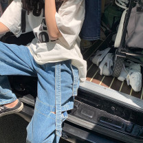 Women's large Summer 2020, spring 2020, autumn 2020 Denim blue M (90-100 kg), l (100-120 kg), XL (120-140 kg), 2XL (140-160 kg), 3XL (160-180 kg), 4XL (180-200 kg recommended) Jeans Solid color Denim 18-24 years old trousers