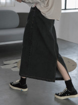 Women's large Autumn 2020 Smoky grey Large L, large XL, s, m, 2XL, 3XL, 4XL skirt commute easy thick Solid color Korean version Denim, cotton, other Three dimensional cutting 18-24 years old Medium length other 121g / m ^ 2 (including) - 140g / m ^ 2 (including) Contains (9 oz) - 11 oz