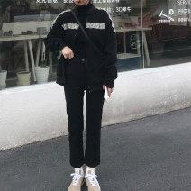 Women's large Spring 2021 black Large L, large XL, s, m, 2XL, 3XL, 4XL Jeans singleton  commute moderate letter cotton routine pocket trousers