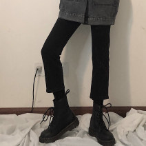 Women's large Winter 2020, autumn 2020 black Large L, large XL, s, m, 2XL, 3XL, 4XL Jeans commute Solid color Korean version Denim 18-24 years old Ninth pants