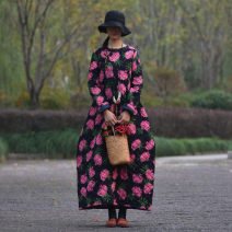 Dress Winter of 2018 rose red One size, s, length 126, bust 100, XL, length 136, bust 116 longuette singleton  Long sleeves commute Crew neck Loose waist Decor Socket Big swing routine Others 40-49 years old Type A Self made ethnic style Pocket, print, buckle FLQ0250 91% (inclusive) - 95% (inclusive)
