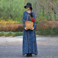 Dress Autumn of 2019 Tibetan blue One size fits all, XL, length 135cm longuette singleton  Long sleeves commute Crew neck Loose waist Broken flowers Socket Big swing routine Others 40-49 years old Type A Self made ethnic style Pocket, print Ethnic dress flq0217 31% (inclusive) - 50% (inclusive) other