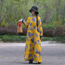 Dress Winter of 2018 yellow One size, s, length 123, bust 104, XL, length 134, bust 116 Mid length dress singleton  Long sleeves commute stand collar Loose waist Decor Socket Big swing routine Others 40-49 years old Type A Self made ethnic style Pocket, print, buckle, slit FLQ0239 other cotton
