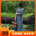 Dress Summer 2020 Light blue, Navy Mid length dress singleton  elbow sleeve commute stand collar Loose waist Decor Socket A-line skirt routine Others 35-39 years old Type A Self made Retro Pocket, print 31% (inclusive) - 50% (inclusive) other hemp