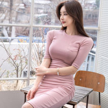 Dress Summer 2020 Pink S,M,L,XL Miniskirt singleton  Short sleeve commute Crew neck middle-waisted Solid color Socket One pace skirt routine Others Other / other Korean version 31% (inclusive) - 50% (inclusive) knitting cotton