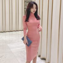 Dress Winter 2020 Pink S,M,L,XL longuette singleton  Long sleeves commute Crew neck High waist Solid color Socket One pace skirt routine 25-29 years old Type H zipper knitting polyester fiber