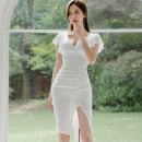 Dress Autumn 2020 white S,M,L,XL Miniskirt singleton  Short sleeve commute V-neck middle-waisted Solid color Socket One pace skirt Lotus leaf sleeve Others Other / other Korean version 81% (inclusive) - 90% (inclusive) Lace nylon