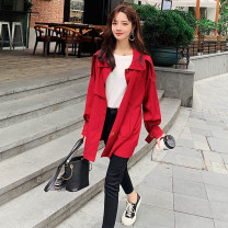 Windbreaker Spring 2021 S,M,L,XL gules Long sleeves routine Medium length Sweet Single breasted Polo collar raglan sleeve Solid color Straight cylinder Other / other 18-24 years old 81% (inclusive) - 90% (inclusive) cotton