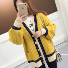 Wool knitwear Spring of 2018 M L XL 2XL Beige Khaki yellow green watermelon red Long sleeves singleton  Cardigan silk 31% (inclusive) - 50% (inclusive) Regular routine commute easy V-neck bishop sleeve Solid color Single breasted Korean version thread