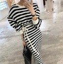 Dress Summer 2021 Graph color Average size Mid length dress singleton  Long sleeves commute Crew neck High waist A-line skirt