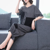 Women's large Summer 2020 Gray, black Large L, large XL, m, 2XL, 3XL, 4XL, 5XL Two piece set commute easy thin Socket Short sleeve Retro Crew neck routine routine BNRJR2090 40-49 years old 31% (inclusive) - 50% (inclusive) Cropped Trousers