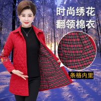 Middle aged and old women's wear Autumn of 2018 fashion Cotton Self cultivation singleton  Solid color 50-59 years old Cardigan thick Polo collar Medium length routine polyester Single breasted