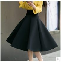 skirt Spring 2021 XXS,XS,S,M,L,XL,2XL,3XL,4XL,5XL,6XL Mid length dress Versatile High waist Fluffy skirt Solid color Type A 25-29 years old 91% (inclusive) - 95% (inclusive) brocade Chloroprene Zipper, stitching 401g / m ^ 2 (inclusive) - 500g / m ^ 2 (inclusive)