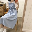 Dress Summer 2021 Average size longuette commute High waist Solid color 18-24 years old Splicing 71% (inclusive) - 80% (inclusive) Chiffon polyester fiber