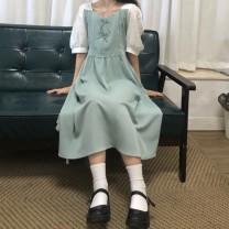 Dress Summer 2021 2 bow dresses green, 2 bow dresses black Average size 71% (inclusive) - 80% (inclusive) Chiffon