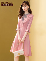 Dress Spring 2021 longuette singleton  three quarter sleeve commute stand collar High waist Solid color zipper other pagoda sleeve Others 35-39 years old Type X Danmunier lady Panel, button, zipper 91% (inclusive) - 95% (inclusive) other polyester fiber