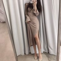 Dress Winter 2020 Black, nude pink S,M,L Mid length dress singleton  Long sleeves commute One word collar High waist Solid color zipper other pagoda sleeve Others 25-29 years old Type H Korean version zipper L21543 81% (inclusive) - 90% (inclusive) other