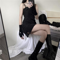 Dress Summer 2021 black S,M,L Short skirt singleton  Sleeveless commute middle-waisted Solid color zipper other camisole 18-24 years old Retro 9021# 91% (inclusive) - 95% (inclusive) polyester fiber